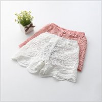 Wholesale 2016 Girls Korean Style Sweet Straight Shorts Two Colors Hot Sale Childrens Hollow Out Flower Lace Fashion Shorts Kids Summer Pure Shorts