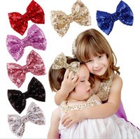 Wholesale Hot sell like hot cakes on the new bow hair clips Embroidery flash sequins child hairpin cute baby big bowknot color