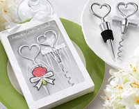 Wholesale Wedding Favors Gifts Wine Bottle opener Heart Shaped Great Combination Corkscrew and Stopper Heart Shaped Sets DHL Free sets