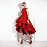 Wholesale Tea Length Prom Dresses Custom Made Elegant Red Color Short Front Long Back Tiered Satin Skirt Bottom Prom Dress
