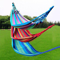 Wholesale 280 cm Double People Outdoor Hammock Creation Thickerness Canvas Garden Hang Bed Travel Camping Swing Stripe Rope
