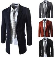 Wholesale Wool Men Winter Trench Overcoat Long Sleeve Pea Coat Classic Single Breasted Gentlemen Trench Lapel Neck Wild Coats J160909