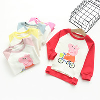 peppa pig clothing - Fashion riding peppa pig cartoon terry sweater kids clothes Girls pullover t shirt contrast raglan tops Chidren clothing cheap price quality