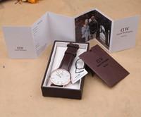 Precio de Gifts-Más lujoso superior de la marca DW DanielWellington las mujeres del reloj para hombre relojes correa de cuero Nylon Oro Dial Pareja Relojes de pulsera de cuarzo Caja de regalo