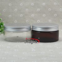 Wholesale 30pc ml Dark Brown Plastic Cosmetic Jar Clear Serum Bottle Silver Aluminum Cap g Cream Container Factory