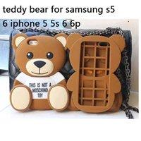 al por mayor teléfono cubre los osos de peluche-Caliente 3D lindo pequeño oso de peluche suave encantadora de la historieta del teléfono del silicón cubierta trasera para el iPhone 5 5S 6 6 P / S de Samsung 5 6