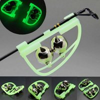 Wholesale Fishing Rod Tip Clip Fluorescent Night Glow Light Twin Bell Alarm Alert Ring F00010 FADH