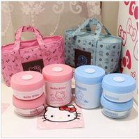 Cheap Cartoon Thermal insulation Lunch Box 3 pcs set Stainless Steel Bento Box with lovely insulation Bag for girls kids