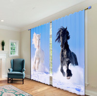 Wholesale New D Animal Horse Plain Weave Printing Custom Curtains Shading Top European Not Fade Children s for Living Room A