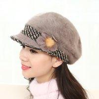 Wholesale Rabbit Hair Hat Duck Tongue Berets Five Flowers Flower Hair Hat Winter Hat Earrings New Fashion Cap S285