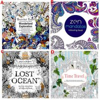 Wholesale Secret Garden kids Adult Coloring Books Relieve Stress Books Lost Ocean Zen Mandalas Time Travel Wonderland Exploration Drawing Books