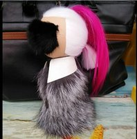 Wholesale Monster Fur Brand Real Fur Pom Pom Keychain Bag Accesories Woman Handbag Charms Adult Plush Real Fur Dolls F27