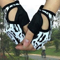Wholesale Women s super star leopard for iron gloves fingerless fitness training gloves ice sericin half fingers cycling gloves