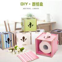 Wholesale Environmental Protection Medium Density Fiber Wood Veneer Tissue Boxes Roll paper Box Suitable For Home manual DIY installation