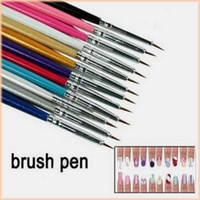acrylic hair products - New Fasion set Nail Painting Tools Nail Art Products Acrylic Nail Art Builder hair Brush Drawing Pen