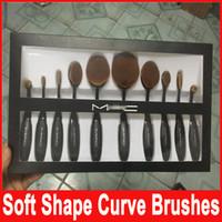 Wholesale Professional Brand Makeup brush Oval Toothbrush Shape Women Foundation Eye Shadow Blusher Soft Shape Curve Brushes Foundation Cosmetic Tools