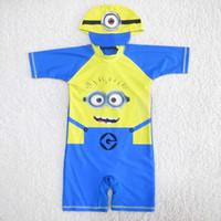 beachwear for kids - Minion Minions Swim Suits Boys Cap For Swimming Child Sets Beachwear Kids Swimwear Kids Bathing Suits Children Swimwear Lovekiss C23871