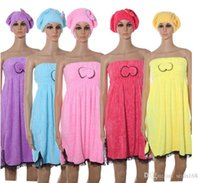 Wholesale DHL Texitile Useful Dry Microfiber Turban Quick Hair Hats Wrapp Towels Bathing Shower Caps Bathroom Plush Coral Double Bow Hats HB H01