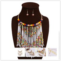 african beaded jewellery - African Gold Jewelry Sets For Women Vintage Multi Color Beaded Tassel Neckalces Charm Statement Necklace Earring Wedding Jewellery Sets