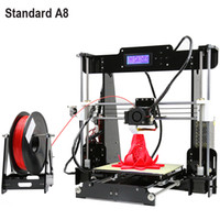 Wholesale DHL Anet A8 head d printer diy Reprap Prusa I3 D Printer Kit DIY Large Size With Rolls Filament GB SD card and LCD Free