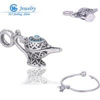 aladdin charm bracelet - 3Pcs Openable Aladdin Lamp DIY Jewelry Gifts Sterling Silver Charms Beads For Pandora Bracelets Women Fashion Necklace Pendant X012