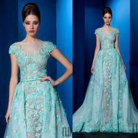 ali blue - 2016 D Appliqued Evening Dresses Sheer Jewel Cap Sleeves Ali Al Khechen Evening Gowns Sweep Train A Line Prom Dress