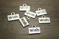 Wholesale 60pcs antique Silver tone mm WISH Charm pendant for jewelry diy making