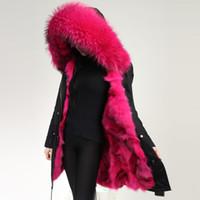 Fox fourrure doublure Mme Long parkas Hood avec noeud raccoon hiver femmes femmes fourrure veste noire