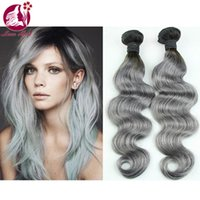 Cheap 2016 Hot Selling Ombre Grey Hair Weaves Ombre Brazilian Virgin Hair Silk Body Wave 1B Grey Ombre Brazilian Human Hair Extensions Double Weft