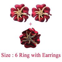 austria painting - New Fashion Austria Crystal Red Spray Paint Starfish Earrings Ring Set K Gold Plated Wedding Ring Earrings Jewelry Sets