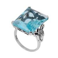 Saphir or bijoux en argent fabricant direct gros un carving maître carré aigue-marine femmes 925 anneau en argent sterling