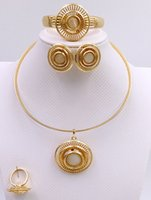 africa times - 2016 fashion golden necklace bracelet earrings ring wedding party use golden Africa times European and American wind jewelry