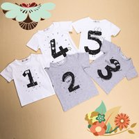 Wholesale INS Hot Style summer of Boys and Girls baby letter whimsy digital T shirt with short sleeves ins hot style children s clothes