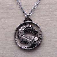 Wholesale 2016 Fashion Dragon Jewelry Pendant Mortal Kombat Game Logo Pendant Necklace Bronze Silver Alloy Keychain
