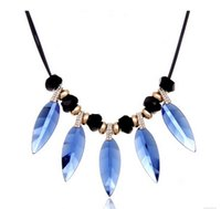 Wholesale 2016 new style womens necklaces beads necklace for lady leaves necklace blue Czech diamond necklaces European crystal strings necklaces