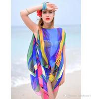 Wholesale Large Chiffon Sunscreen Beach Tunic Shawl CM Scarves Flower Poncho Cape Women Scarf Bikini Beachwear Swimsuit Cover Up