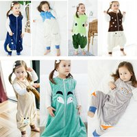 Cheap Kids Cartoon animal Sleeping Bag Baby Autumn Winter home flannel Sleep Sack Infant Swaddle Bed Warm Jumpsuit 6styles 3size choose free