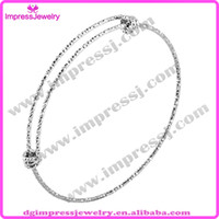 Cheap IJB0459 Wholesale Silver Tone Frosted Pattern Expandable Wire Bangle Bracelet For Beading Or Charm DIY Jewelry Making Part