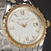 auto resistance bands - TAYLOR COLE Brand Fashion Women s Quartz Watch Gold Silver Band Stainless Steel Auto Date Display Water Resistance Women s Watch TC025
