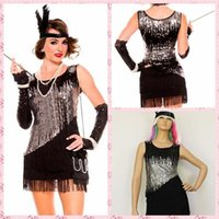 adult dance outfits - Hallowmas Cosplay Women s Adult s Black Flapper Costumes Charleston Dress Jazzy Club Dance Fancy Sequin Outfit Sexy Fringe Dress