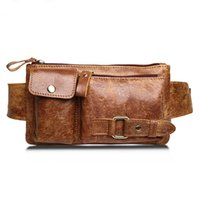 Wholesale Genuine Leather Waist Bag Women Men Fashion Belt Bags Male Fanny Pack Small Waist Pack Man Casual Crossbody Shoulder Bag Y002