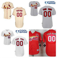 Wholesale St Louis Cardinals Custom Jerseys Cream Gray Red White Men Cardinals Personalized Baseball Jerseys Stitched