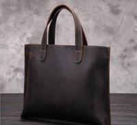 Wholesale men s handbags cross section retro men s bags baotou layer cowhide for crazy horse leather business document
