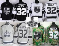 al por mayor camo rápida-2016 Venta al por mayor Los Angeles Kings Jerseys # 32 Jonathan Quick Blanco Negro Camo cosido Jersey de hockey LA Stanley Cup Patch
