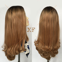 Wholesale Most popular dark roots blond color big silk top quot long European hair jewish wig kosher wigs