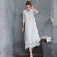 al por mayor dos piezas dresse-Las mujeres se visten vestido de verano más grande falso de dos piezas de estilo chino color sólido vestido suelto y asimétrica ocasional Dresse