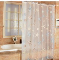 Wholesale Pretty PEVA Shower Curtains Blue Sea Life Starfish Shell Waterproof Bathroom Accessories Thicken Fashion Bath Curtain