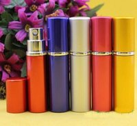 anodized metal - Perfume bottle ml Aluminium Anodized Compact Perfume Aftershave Atomiser Atomizer fragrance glass scent bottle Mixed color sale