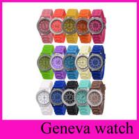 Unisex acrylic auto sales - 15 colors Fashion Crystal diamond Geneva Watch Unisex Silicone Candy Quartz Wristwatches christmas gift for girls hot sales