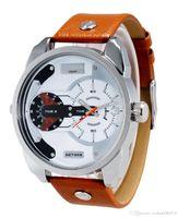 al por mayor ver logotipo de los hombres de la marca-Reloj de cuarzo del reloj de la fecha de la correa de cuero del dial de los hombres grandes de la marca de fábrica DZ de la manera con la insignia